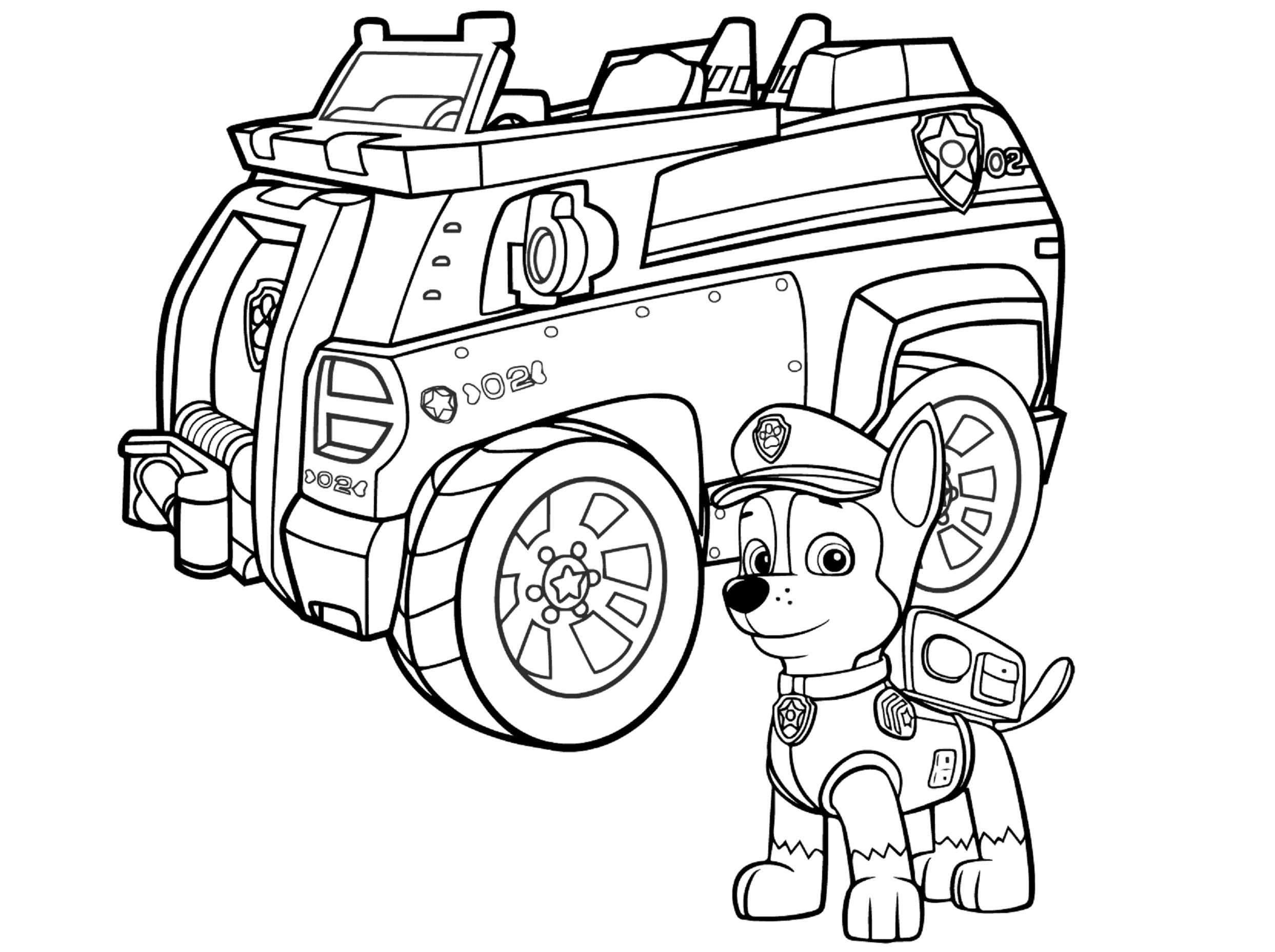 Kleurplaten Politieauto.Aw Patrol Kleurplaat Chase Met Politie Auto Paw Patrol