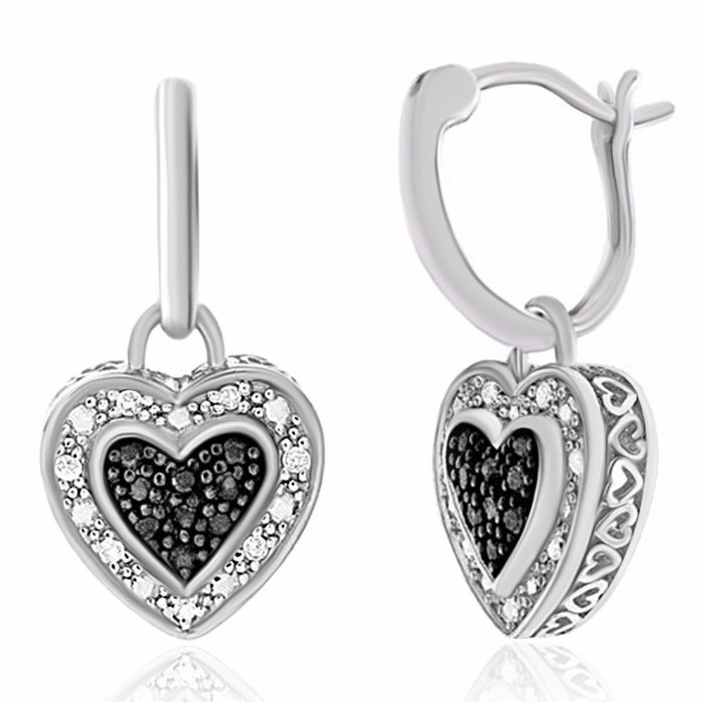 5006a8f0a 0.18 Ct Enhanced Black & Natural White Diamond Heart Earrings in Sterling  Silver #Caratsforyou #Dangle