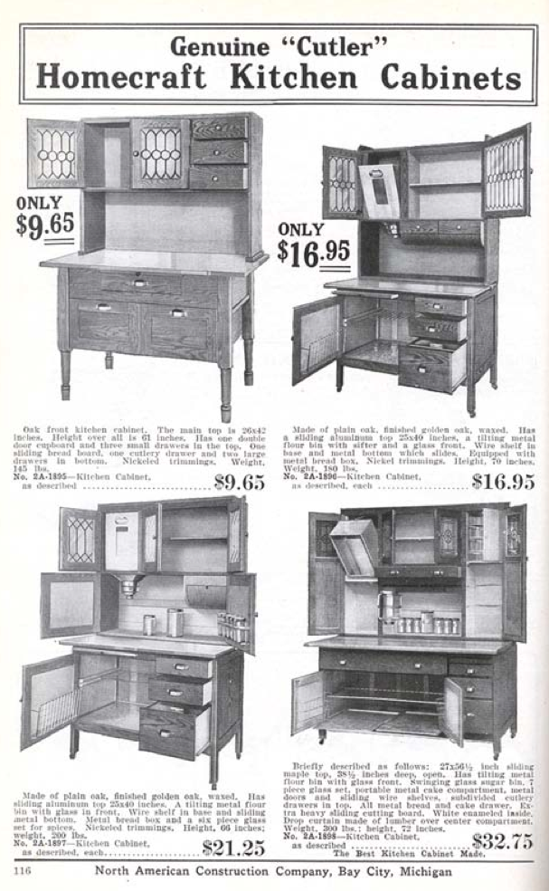 Homecraft Kitchen Cabinets From The Aladdin 1916 Furnishing Catalog Early 1900s Kitchens