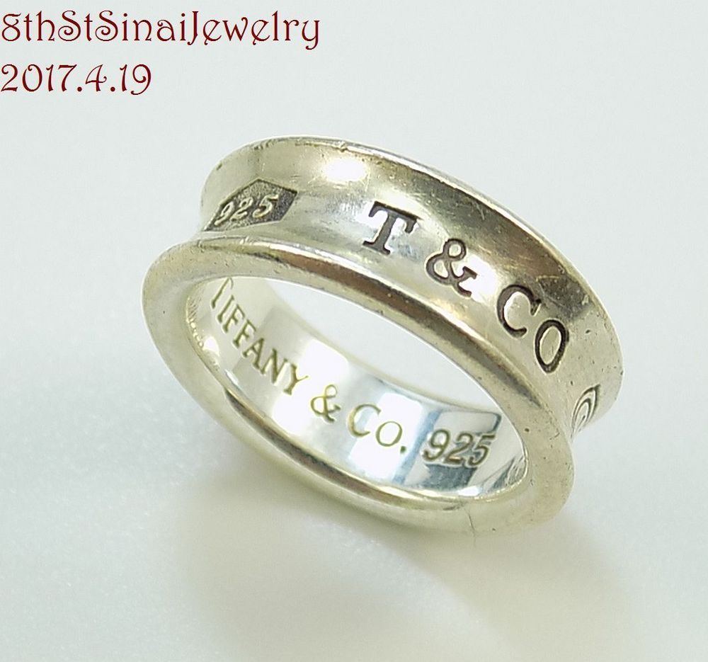 fe72aedfacd25 Retired 1997 Tiffany & Co Sterling Silver 925 1837 Concave Band Ring ...