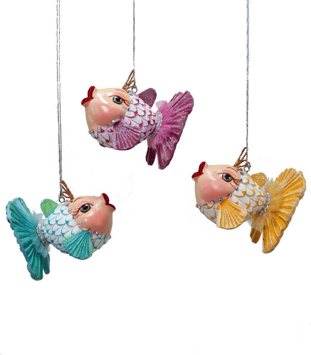 Fish christmas ornaments - Gold Fish Ornament Assortment Of 3 Katherine S Collection