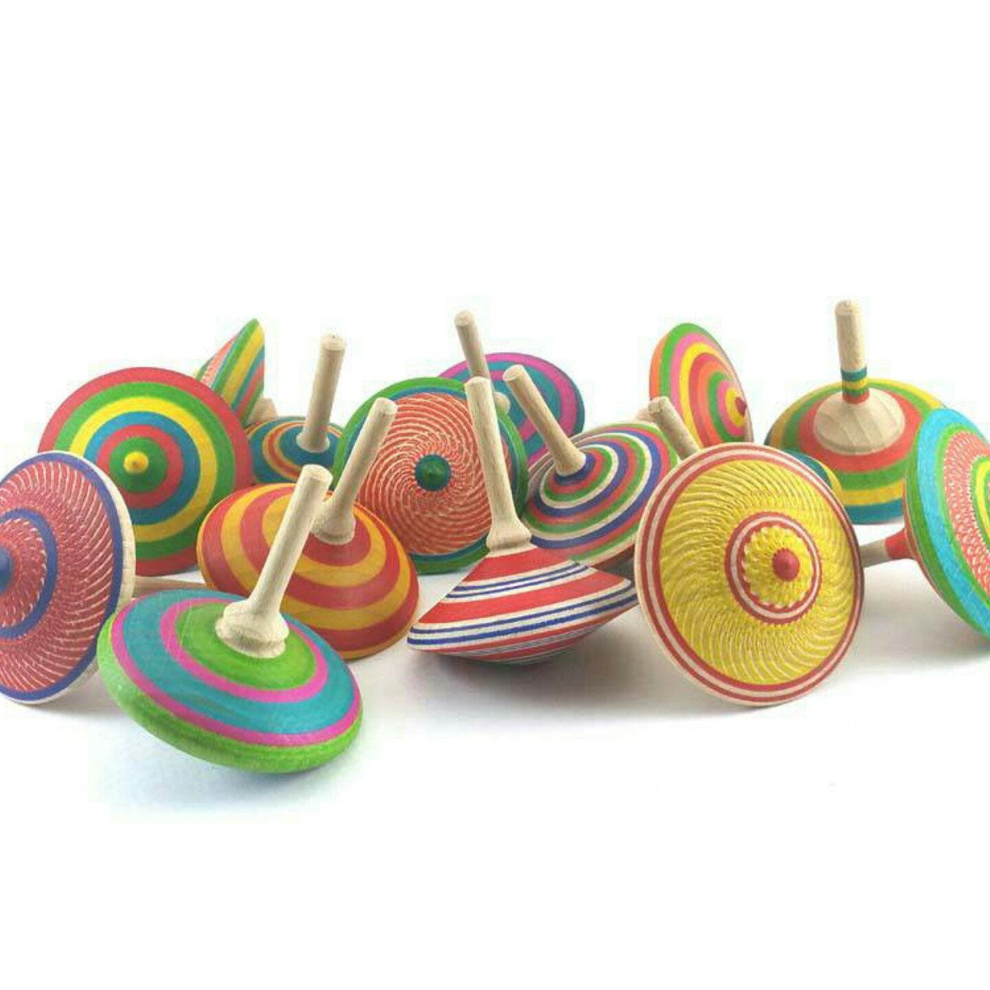 Three wooden spinning tops, Turned top, Handmade gifts ...