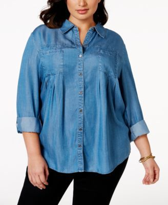 a42f65a0 Style & Co. Plus Size Button-Down Denim Shirt, Only at Macy's   Next ...
