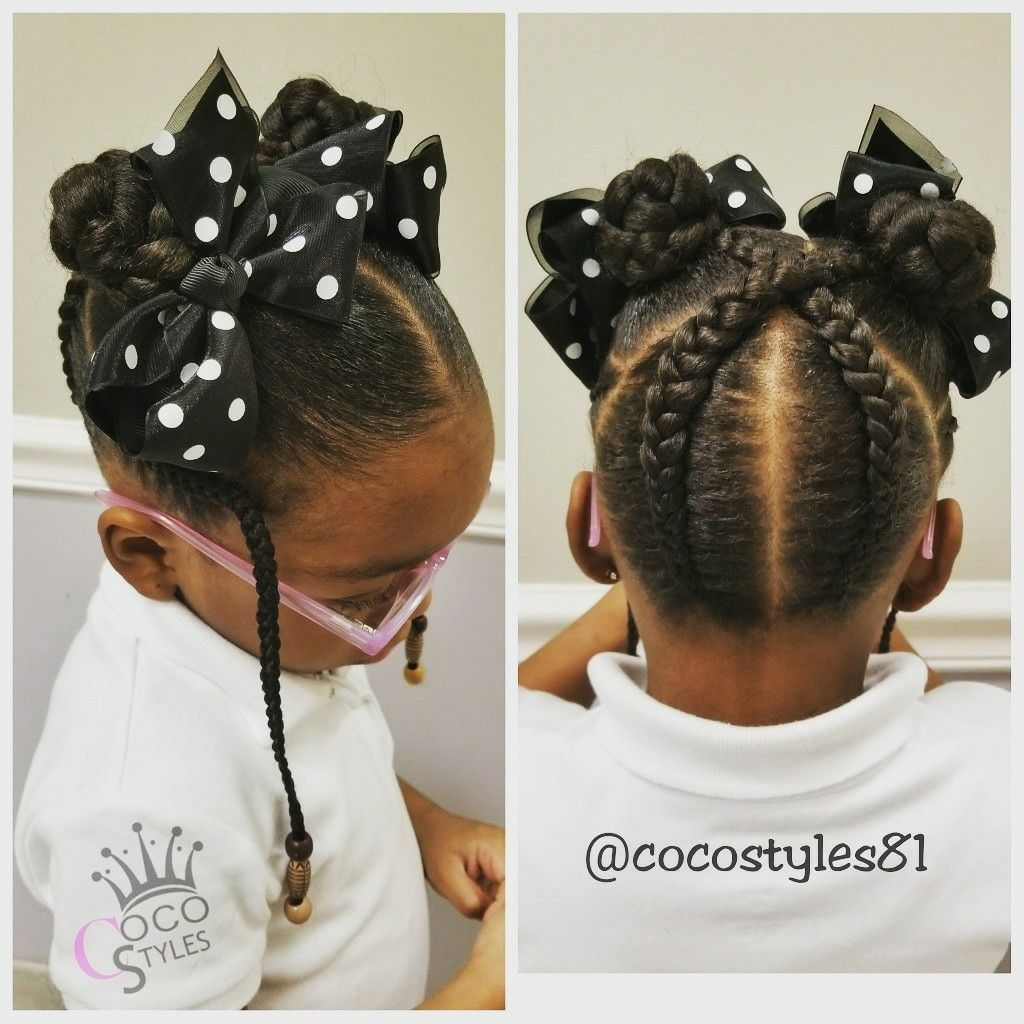 Too Cute Criss Cross Up Do Braids With Bows Hair Styles Natural Hairstyles For Kids Kids Hairstyles