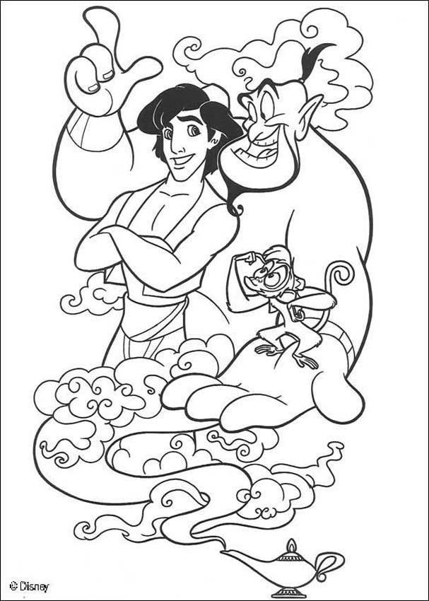 Aladdin coloring pages - The Genie, Abu and Aladdin | disney ...