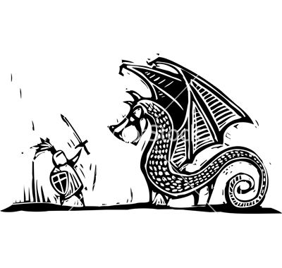 Knight and dragon vector- linoleum print love | Party - knights ...