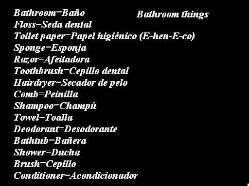 Spanish Words For Bathroom