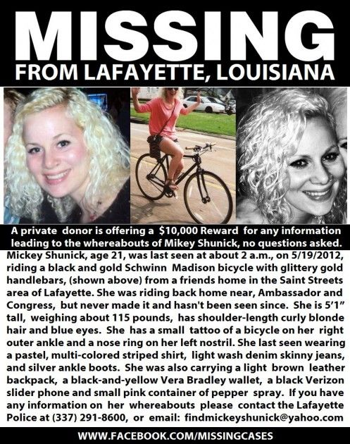 ALL: PLEASE REPOST NO MATTER YOUR LOCATION! missing girl lafayette mickey shunick