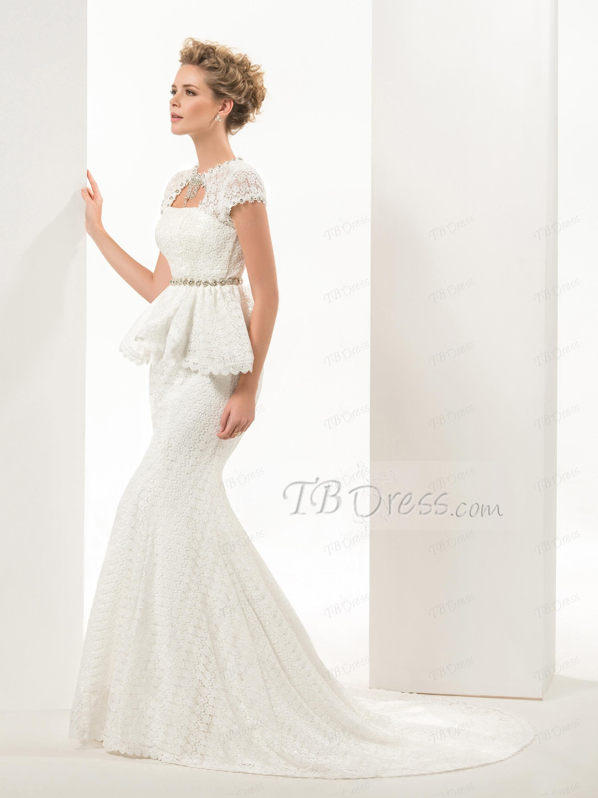I like the top.  Glamorous Mermaid/Trumpet Short Sleeves Lace-up Sweep/brush Lace Wedding Dress