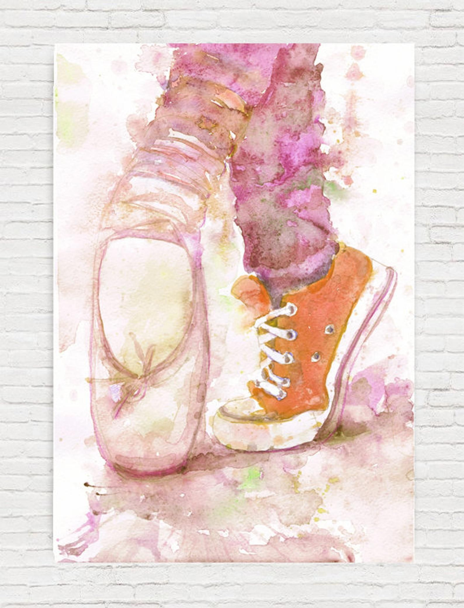 Ballerina Print Ballet Pointe Shoes Water Color Painting Etsy