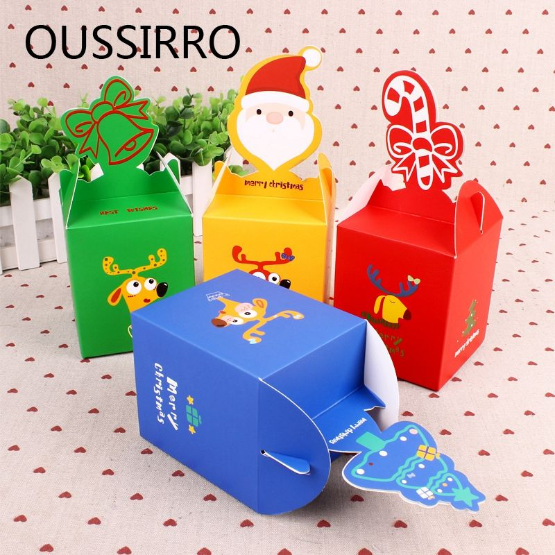 Decorative Food Boxes 1Pcs Diy Portable Christmas Apple Cookies Candy Gifts Box Paper
