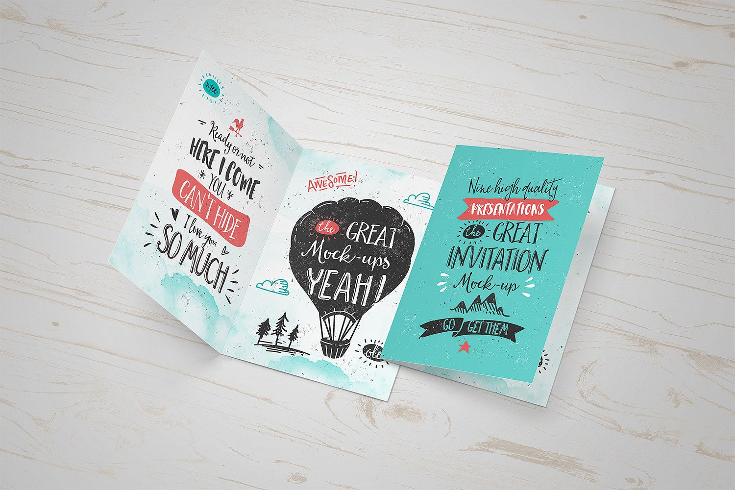 Great Free Invitation Or Greeting Card Mockup PSD