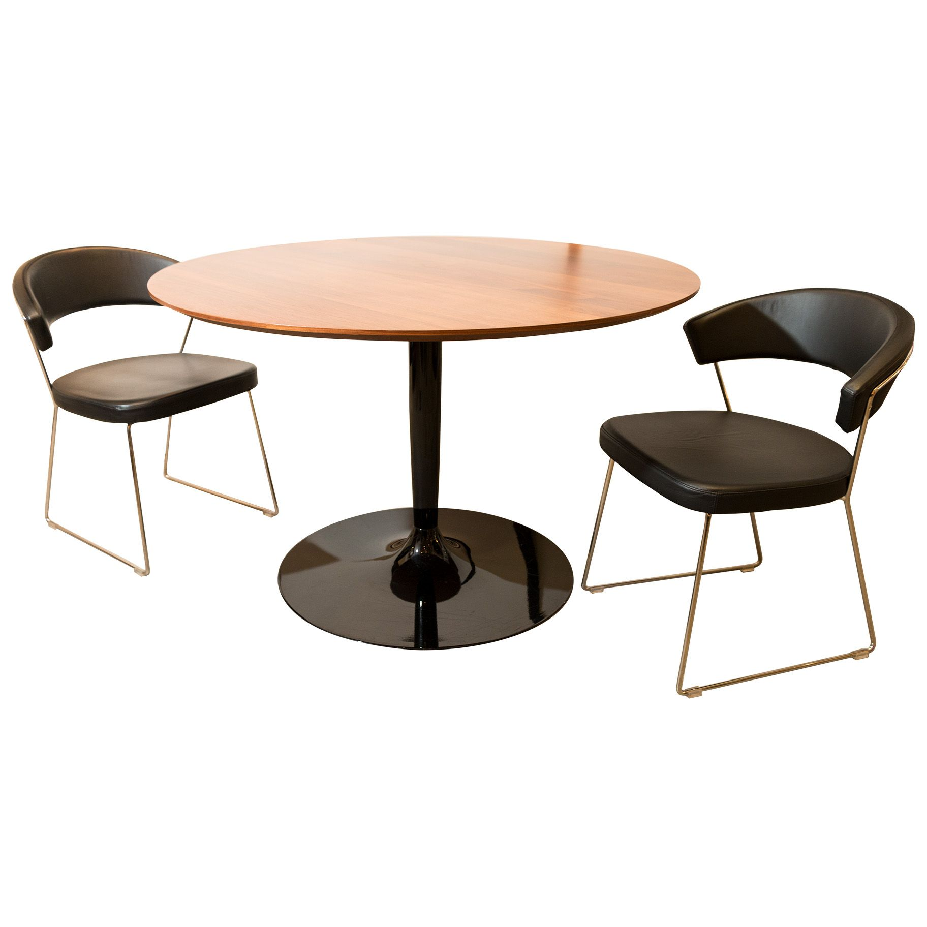 Charmant DARRONS Contemporary Round Pedestal Dining Table With Two Black Leather  Chairs