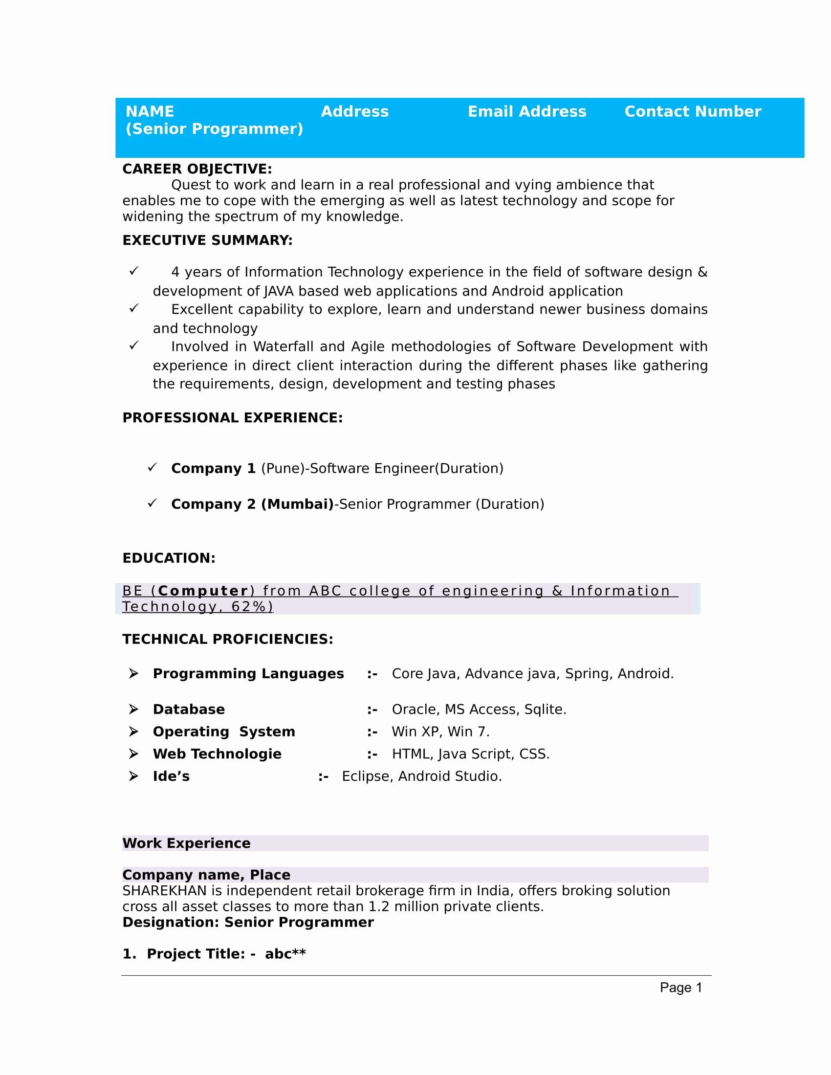 Resume Sample Format Pdf Download For Freshers