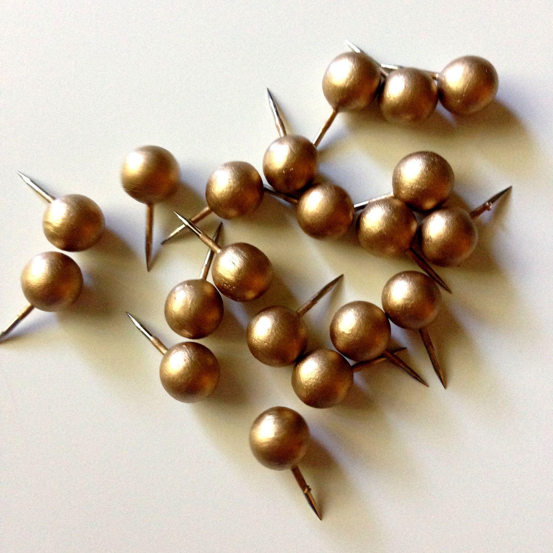 Gold leaf push pins, round, cubicle decor, pin, thumb tacks ...
