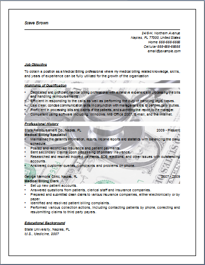 Medical Billing Resume  Sample Job Resume Layout  Free Sample