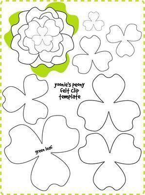 Peony Flower Felt Clip Tutorial + Template #feltflowertemplate
