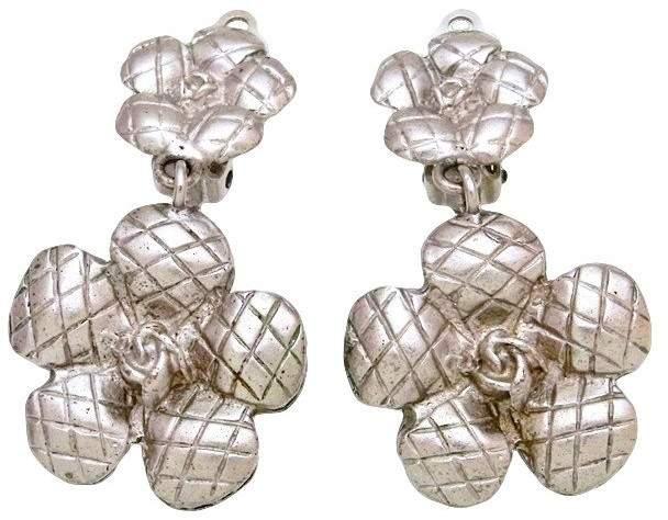 Chanel Cc Logo Silver Tone Metal Camellia Flower Dangle Earrings Vintage Chanel Earrings Chanel Earrings Vintage Chanel Jewelry