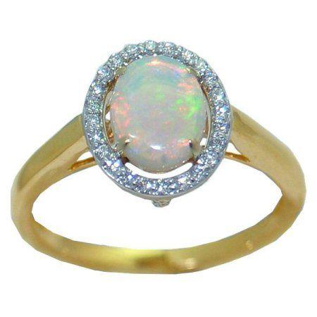 Opal Ring with 0.14 cttw. Diamonds https://www.goldinart.com/shop/rings/colored-gemstone-rings/opal-ring-0-14-cttw-diamonds #14KaratYellowGold, #OpalRing