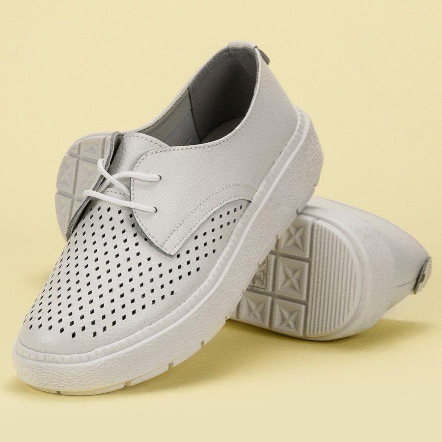 Goodin Lekkie Skorzane Polbuty Biale Shoes Women Heels Women Shoes Shoes