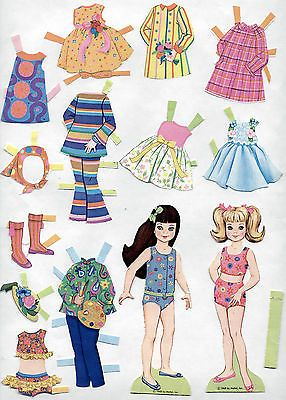 Vintage-Whitman-Mattel-TUTTI-paper-dolls-1968-Barbies-Skippers-Little-Sister