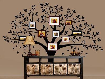 Fashion Chic Black Family Photo Frame Tree Mural Wall Sticker Home