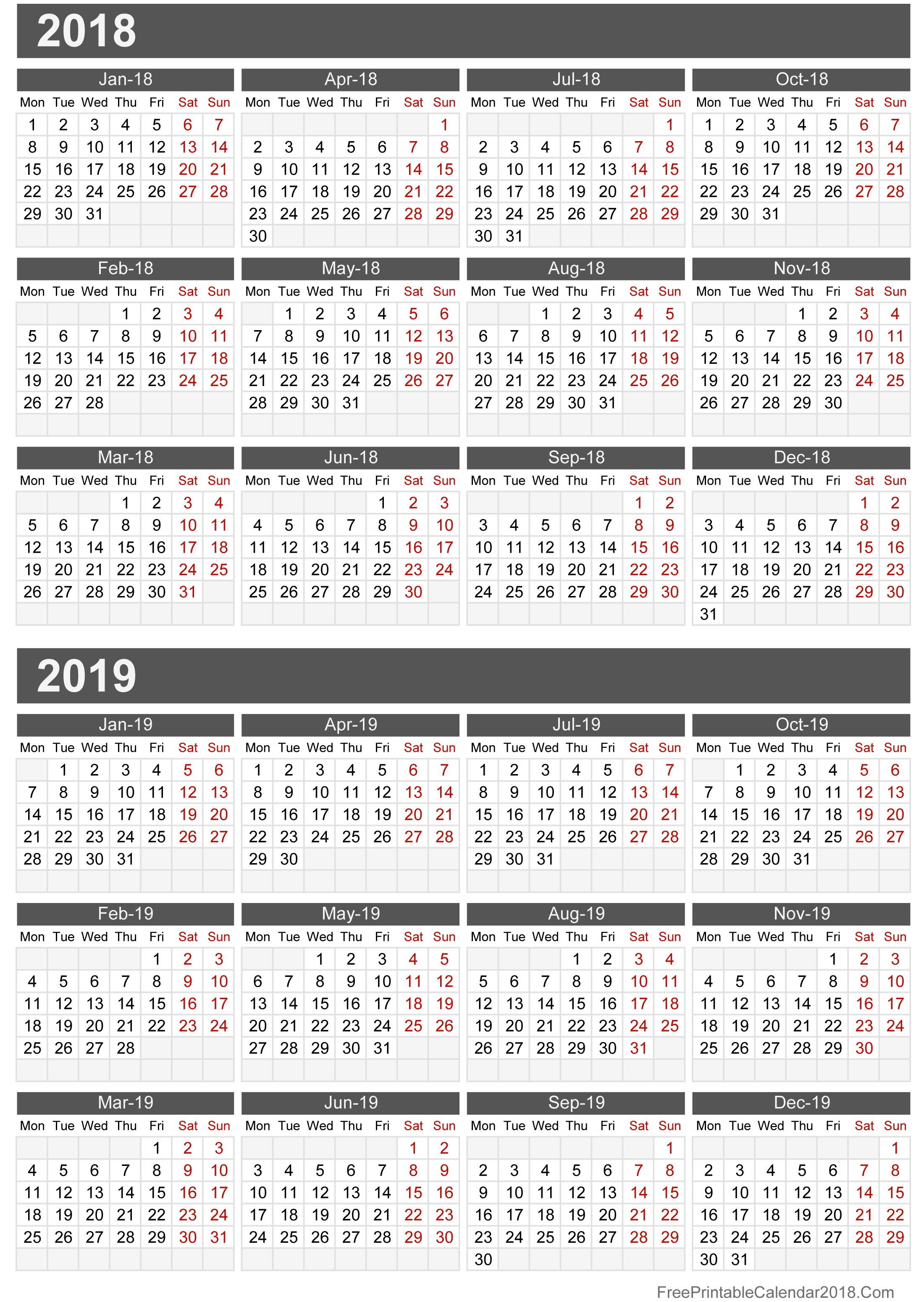 2018 2019 Calendar Free Printable Two Year Pdf Calendars By Free
