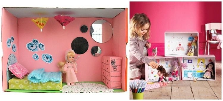 schuhkarton basteln kinder haus puppen zimmer schlafzimmer pink kunst schuhkarton pinterest. Black Bedroom Furniture Sets. Home Design Ideas