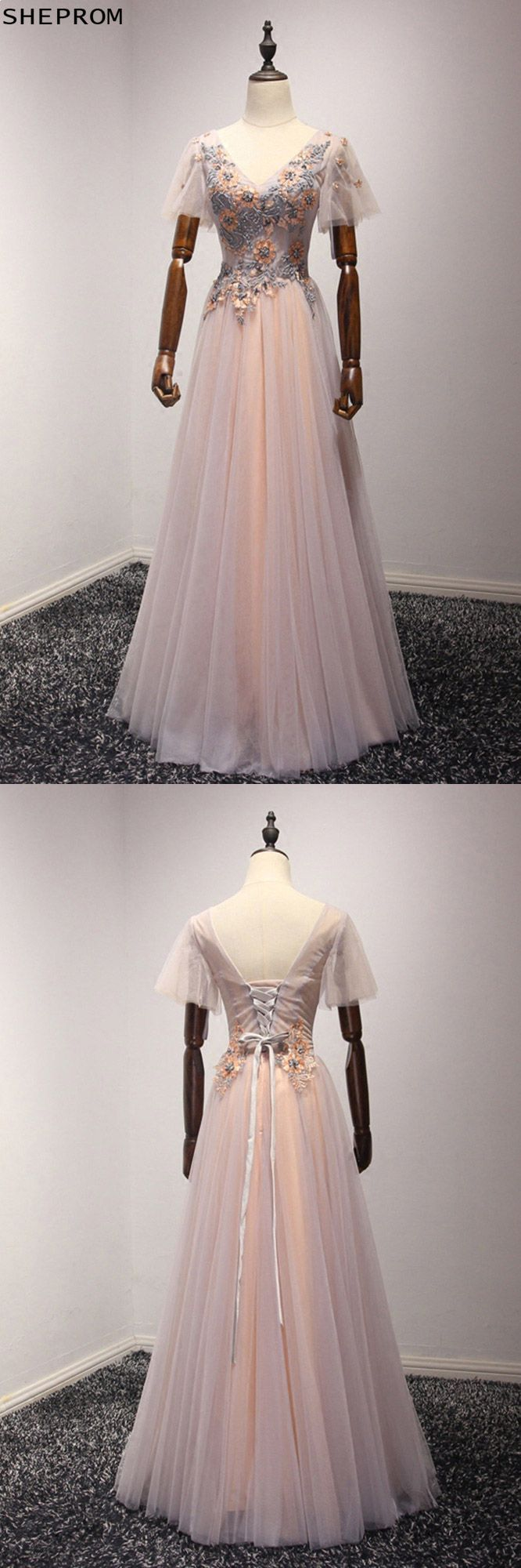 Applique Beading Long Pink Formal Dress With Short Puffy Sleeves