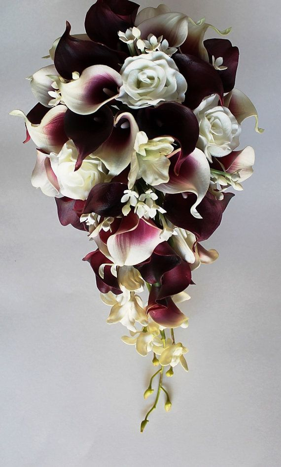 calla lilies and roses wedding bouquet cascade wedding calla bouquet cramberry by 2379