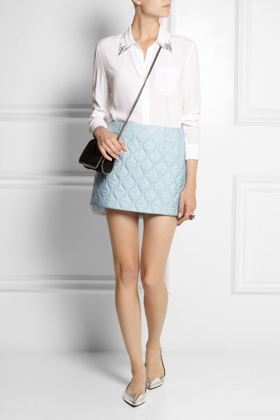 62a989a5f5e33f MIU MIU Quilted shell mini skirt EQUIPMENT Reese crystal-embellished washed-silk  shirt STELLA MCCARTNEY The Falabella faux brushed-leather shoulder bag