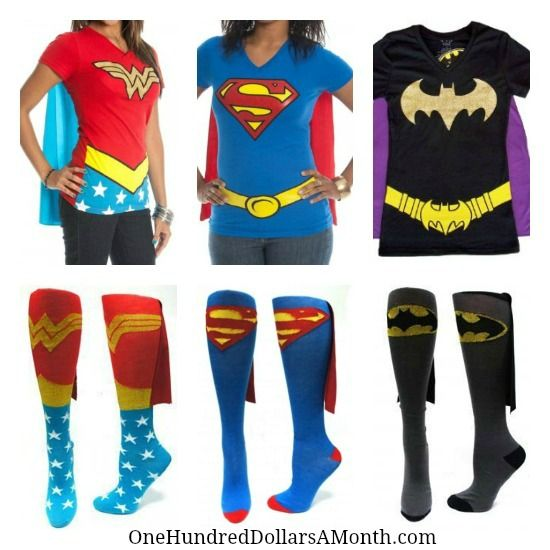 wonder woman super girl batman t shirts and socks for women - Halloween Shirts For Ladies