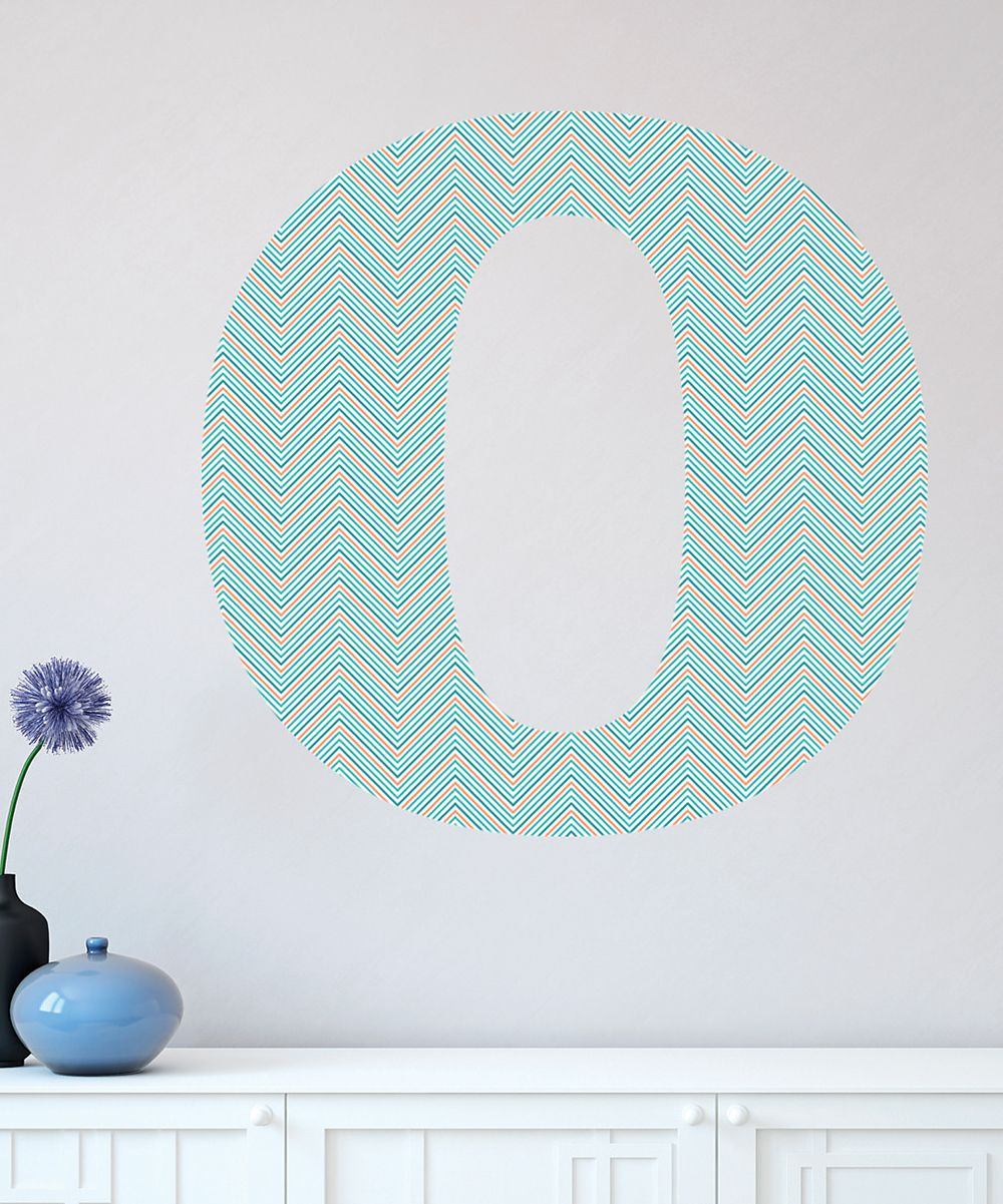 Teal Coral Chevron Monogram Wall Decal Daily Deals For Moms - Coral monogram wall decal