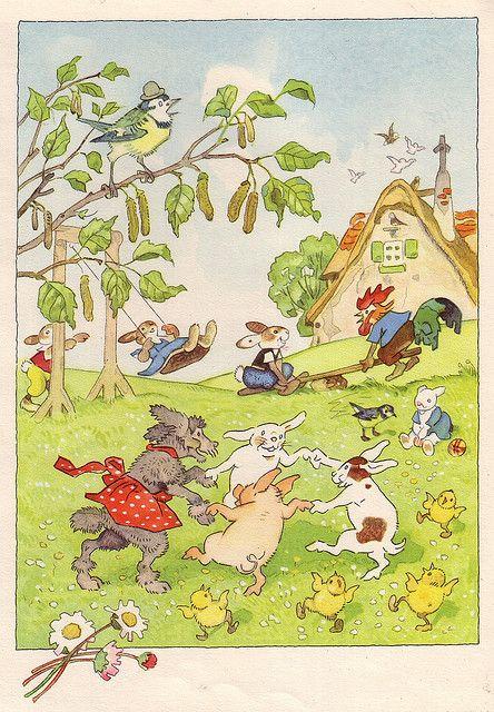 April  -  Fritz BaumgartenGotthard Niemer / Von den wunderlichen Leuten und den vier Jahreszeiten Engelbert Dessart Verlag (Mainz/Deutschland; 1958) Bilder von Fritz Baumgarten ex libris MTP