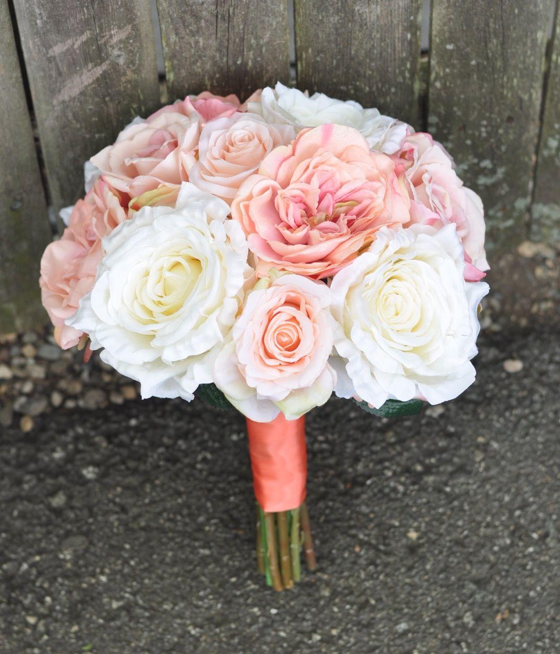 Shipping Coral Pink And Ivory Silk Flower Bouquets All Around The