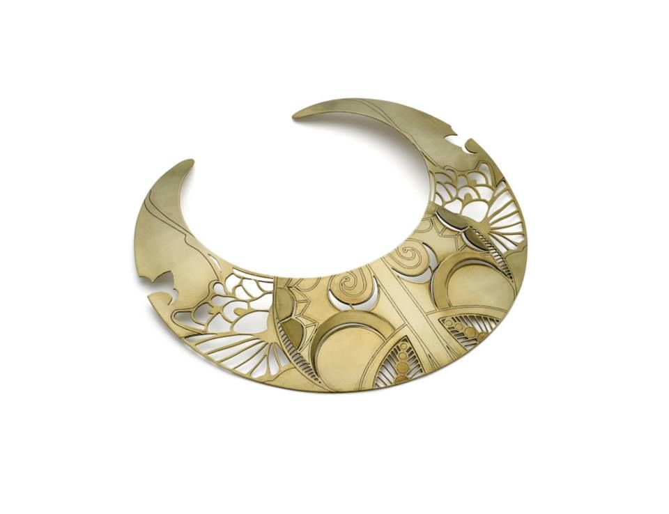 Joanna Bury Laser cut and acid etched brass small neck piece with oxidised detailing.