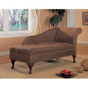 Coaster Accent Seating Microfiber Chaise Lounge With Flip Open Seat In Brown 550068 Lowest Price Online On All
