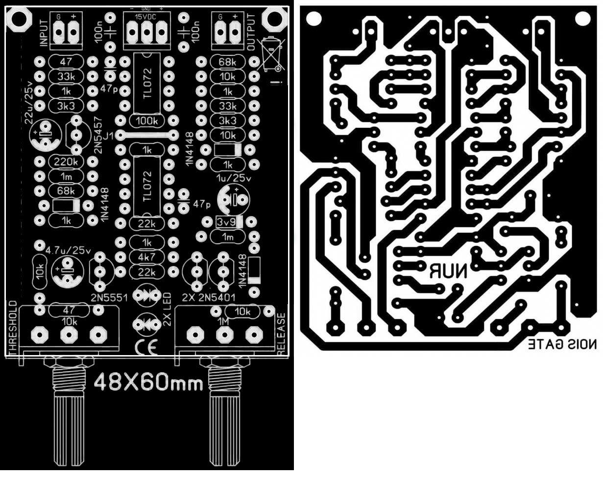 Tone Control Circuit Diagram With Pcb Layout Super Pre Project Using Lf353 Eleccircuitcom Noise Gate Color Pinterest