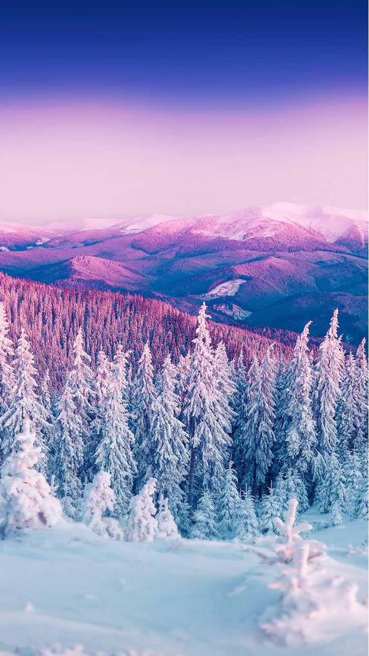Purple Winter Mountain Landscape Iphone 6 Wallpaper