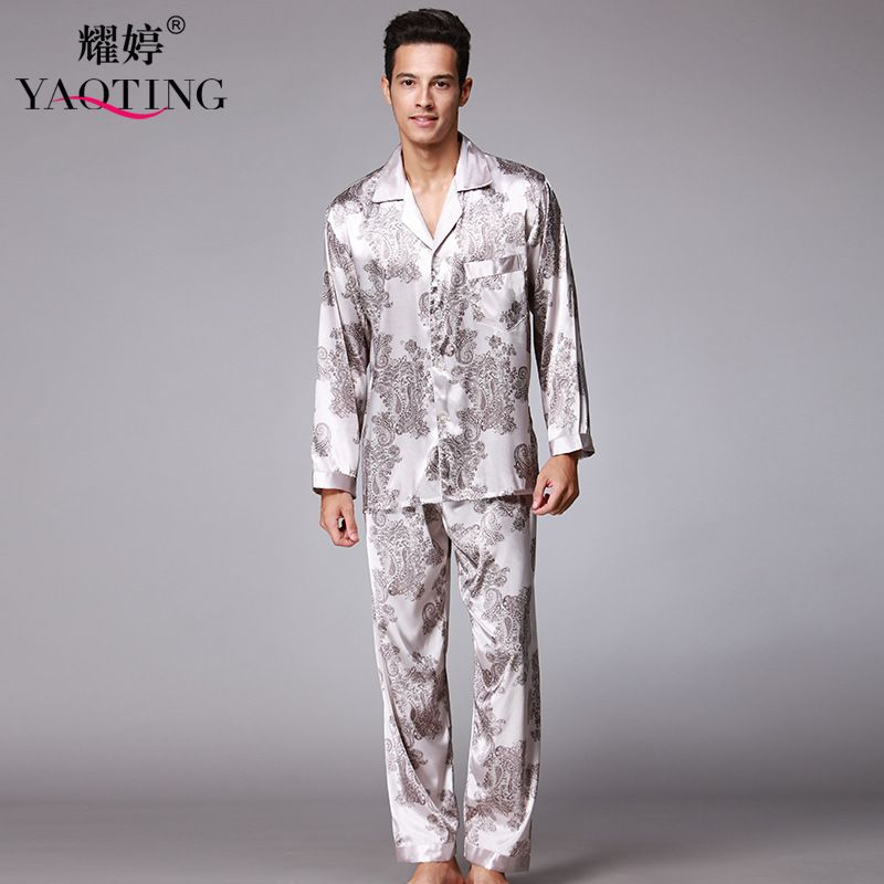mens silk satin pajamas set pajama pyjamas nightgown 2 pcs men sleepwear robes bathrobes for male - Mens Bathrobes