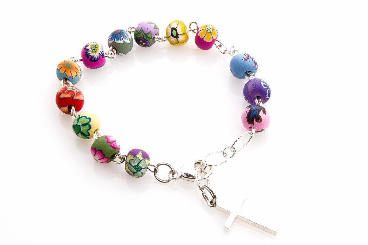 Precious floral rosary bracelet rosaries pinterest rosary