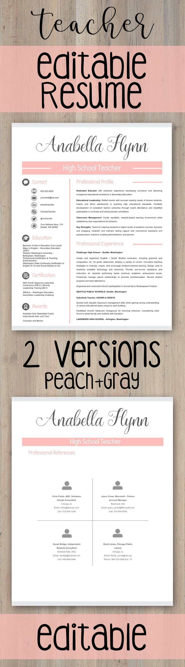 Editable teacher resume template for ms powerpoint and