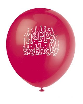 Ruby Red Printed Happy Birthday Balloon