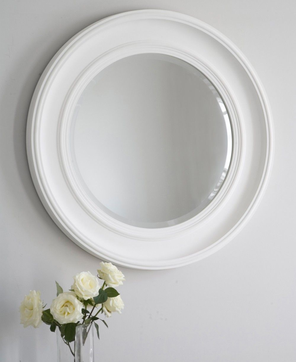 Large White Wall Mirror an easy round mirror ideal for a living room, hallway or bathroom