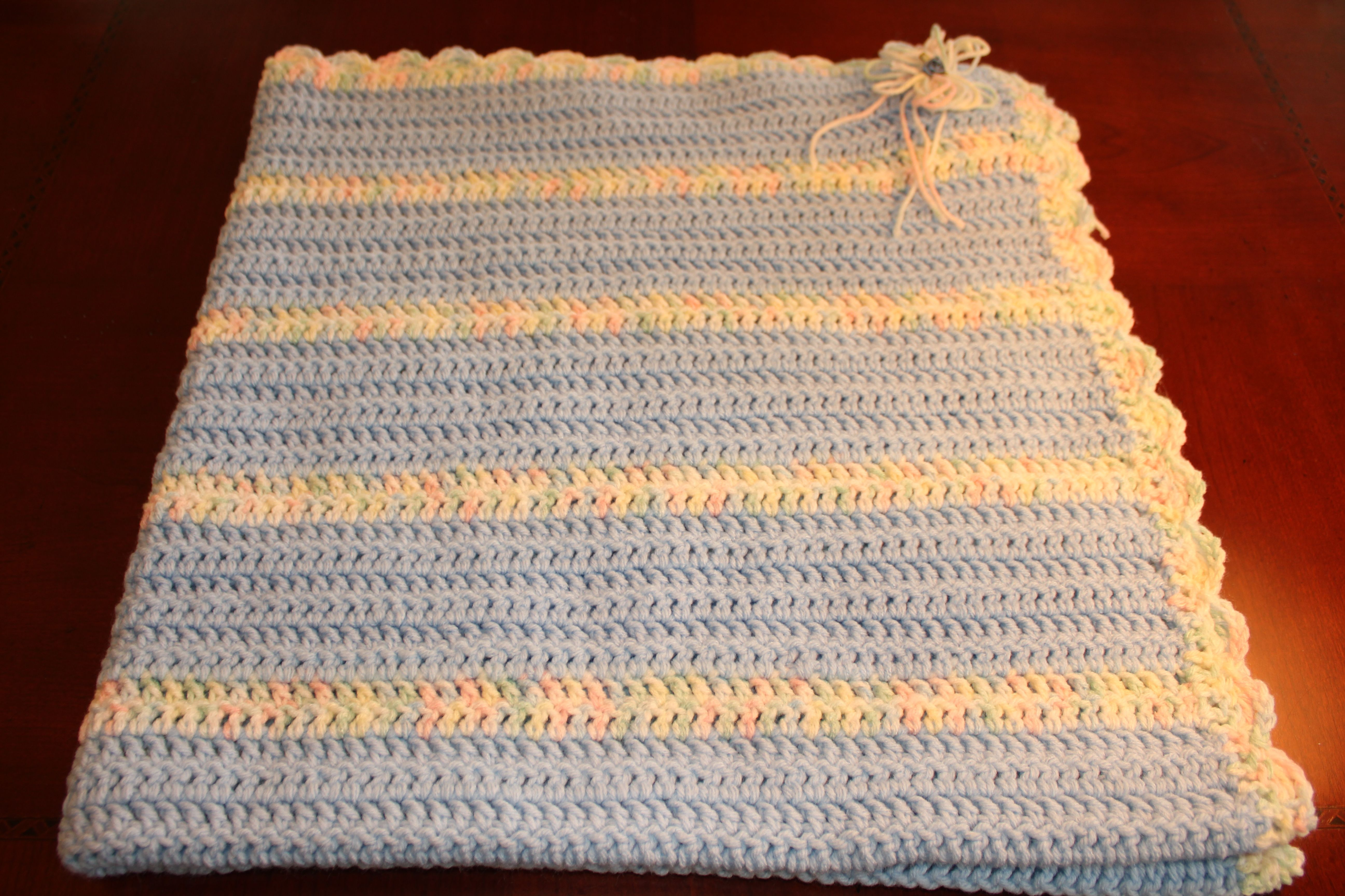 """Baby Blanket - Blue Variegated 38"""" x 38"""" $40 +shipping"""