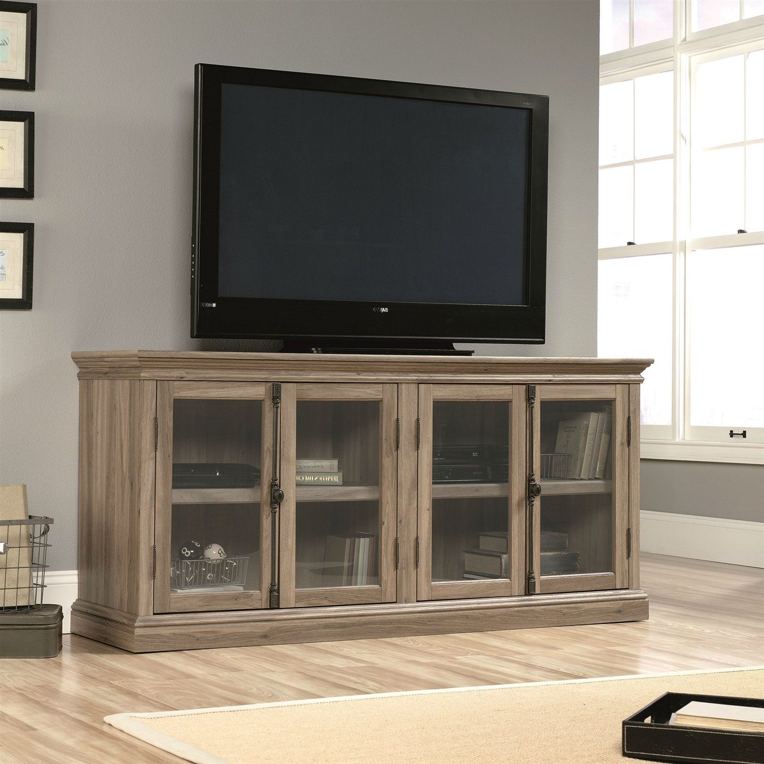 Salt Oak Wood Finish Tv Stand With Tempered Glass Doors Fits Up To