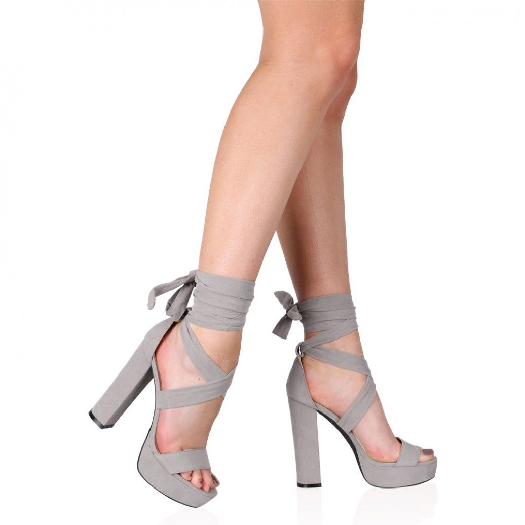 Adrina Lace Up Heels in Grey Faux Suede