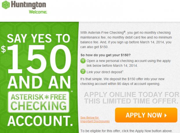 Huntington Bank 150 Cash Bonus On Asterisk Free Checking Jan 2014 Free Checking Checking Account Paying Bills