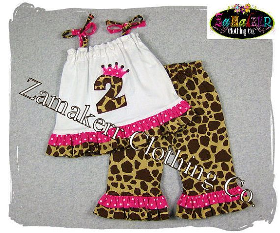 Custom Boutique Clothing Animal Safari  Zoo Girl Outfit Set Girl Halter Ruffle Pant Set  3 6 9 12 18 24 month size 2T 2 3T 3 4T 4 5 6 7 8