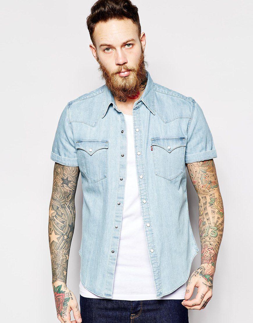 fc0fd9df77ea Levi's+Denim+Shirt+Barstow+Short+Sleeve+Slim+Fit+Western+Light+Indigo+Fog